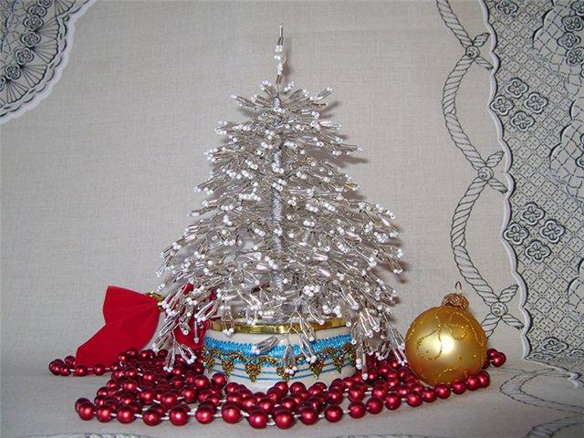 Маленькая новогодняя елка из бисера